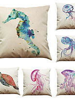 Set of 6 Seabed Creatures Pattern   Linen Pillowcase Sofa Home Decor Cushion Cover (18*18inch)