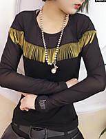 Tee-shirt Femme,Couleur Pleine Décontracté / Quotidien simple Mignon Printemps Hiver Manches Longues Col Arrondi Polyester Moyen