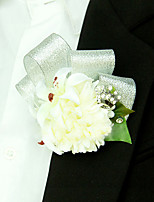 Wedding Flowers Free-form Lilies Peonies Boutonnieres Wedding Party/ Evening Silver Satin