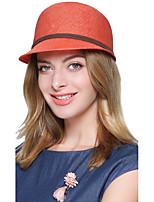 Femme Rétro Soirée Travail Décontracté Polyester Chapeau de Paille Chapeau de soleil,Couleur Pleine Printemps Eté Automne