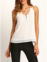 Women's Going out Beach Holiday Sexy Cute Street chic Summer Blouse,Solid V Neck Sleeveless Others Opaque