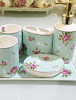 Bathroom Accessory Set of 6 Objects Ceramic /Contemporary