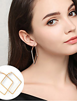 Hoop Earrings Jewelry Alloy Basic Statement Jewelry Simple Style Square Gold Silver Jewelry Party Halloween Daily Casual 1 pair