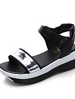 Women's Sandals Summer Mary Jane Leatherette Outdoor Dress Casual Wedge Heel Buckle Walking