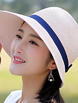 Women 's Summer Fisherman Leisure Sun Solid Color Dome Bow Foldable Tourism Basin Cap