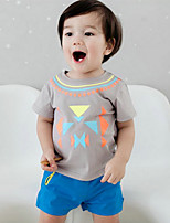 Boy Going out Casual/Daily Solid Sets,Cotton Summer Short Sleeve Clothing Set