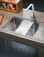 32 Inch Farmhouse Apron 60/40 Deep Double Bowl 16 Gauge Stainless Steel Luxury Kitchen Sink