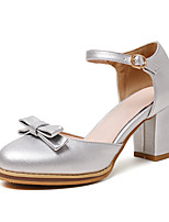 Sandals Spring Summer Fall Club Shoes PU Synthetic Office & Career Party & Evening Dress Chunky Heel Bowknot Black Blue Pink Silver