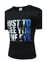 Men's Going out Casual/Daily Holiday Sexy Simple Street chic T-shirt,Print Round Neck Short Sleeve Cotton Polyester
