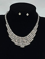 Jewelry 1 Necklace 1 Pair of Earrings Wedding Party Special Occasion Alloy Zircon 1set Gold Black Silver Wedding Gifts