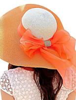 Spring And Summer Outdoor Bow Tie Sun Wide Brim Hat Beach Straw Travel Sunhat