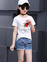 Girls' Casual/Daily Holiday Solid Floral Sets,Cotton Summer Short Sleeve Clothing Set