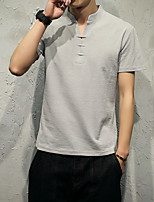 Solid color V-neck T-shirt Slim male short shirt Japanese model