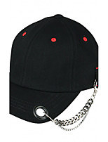 Women 's  Dot Letter Embroidery Print Hip Hip Solid Color Flat-brimmed Chain Baseball Cap