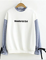 Women's Casual/Daily Simple Sweatshirt Letter Round Neck Micro-elastic Cotton Long Sleeve Fall