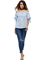 Women's Casual/Daily Simple T-shirt,Solid Off Shoulder ½ Length Sleeve Polyester