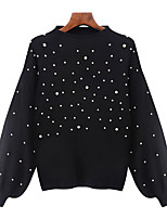 Women's Casual/Daily Simple Regular Pullover,Solid Polka Dot Crew Neck Long Sleeve Cotton Fall Thick Stretchy