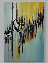 IARTS Hand Painted Modern Abstract The Boundary of Blue and Yellow  Stretchered Ready to Hang Colorful Art Canvas