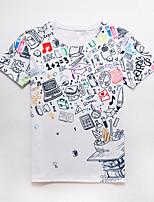 Herren Druck Street Schick Aktiv Punk & Gothic Lässig/Alltäglich Party/Cocktail Klub T-shirt,Rundhalsausschnitt Kurzarm Polyester