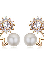 Stud Earrings Pearl Zircon Cubic Zirconia Gold Plated Fashion Geometric Gold/White Rose Gold Champagne Jewelry Daily Casual 1 pair