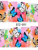 10pcs/set Hot Fashion Sweet Style Nail Art Sticker Beautiful Flower&Butterfly Design Nail Water Transfer Decals Beautiful Decoration STZ-091