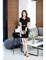 Women's Casual/Daily Sheath Dress,Solid Boat Neck Above Knee Short Sleeve Cotton Spring Mid Rise Inelastic Medium