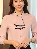 Для женщин На каждый день Офис Весна Лето Рубашка Воротник-стойка,Простое Однотонный Длинный рукав,Полиэстер,Средняя