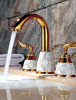 Art Deco/Retro Widespread Widespread with  Ceramic Valve Two Handles Three Holes for  Ti-PVD , Bathroom Sink Faucet