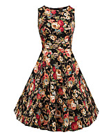 Women's Work Party Vintage Sophisticated Sheath Dress,Print Round Neck Above Knee Short Sleeve Cotton Rayon All Seasons Mid Rise Inelastic