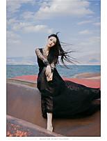 Damen Etuikleid Swing Kleid-Ausgehen Strand Urlaub Sexy Retro Solide Jacquard V-Ausschnitt Maxi Langarm Kunstseide Polyester Nylon