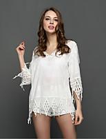 Ebay модели Aliexpress взрыва в Европе и Америке большой кисточкой v-образным вырезом блузка пляж bearding