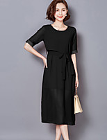Sign 2016 spring new Slim round neck fake two silk dress slit skirt and long sections