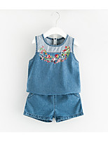 Girls' Casual/Daily Solid Print Sets,Cotton Polyester Summer Short Sleeve Clothing Set