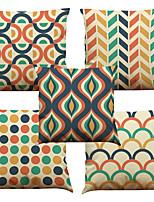 5 Stück Leinen Natürlich / Organisch Kissenbezug,Blumen Fest Texture Kariert Leger Retro Traditionell-Klassisch Stützen Euro Strand Design