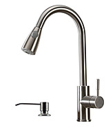 Contemporary Art Deco/Retro Pull-out/Pull-down Vessel Widespread Pullout Spray with  Ceramic Valve Single Handle One Hole for Kitchen Faucet
