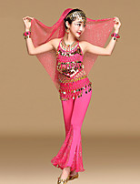 Belly Dance Outfits Kid's Performance Chiffon Gold Coins / Sequins Sleeveless 5 Pieces Top / Pants / Hip Scarf / Headwear / Veil
