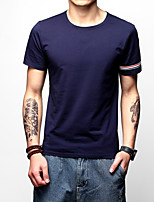 Men's Plus Size Casual/Daily Holiday Simple Street chic Active Spring Summer T-shirt,Solid Round Neck Short Sleeve Cotton Medium