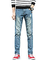 Men's Mid Rise Inelastic Jeans PantsVintage Simple Slim Ripped Solid ACD-151