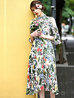 Women's Going out Casual/Daily Loose Dress,Floral Round Neck Midi Sleeveless Linen Polyester Spring Summer Mid Rise Inelastic Medium