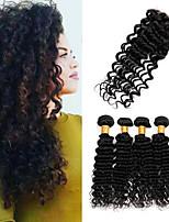 One Pack Solution Cheveux Péruviens Ondulation profonde 12 mois 5 Pièces tissages de cheveux