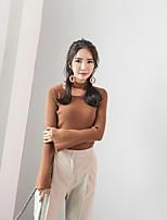 Normal Pullover Femme SortieCouleur Pleine Col Arrondi Manches Longues Acrylique Printemps Moyen Elastique