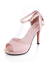 Women's Sandals Summer T-Strap Leatherette Outdoor Party & Evening Dress Stiletto Heel Buckle Walking