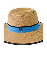 Women 's Summer Sun Folded Splicing color Straw Big Brim Beach Icon Ribbon Seaside Sun Hat