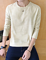 60% -P35 round neck long-sleeved T-shirt men cotton, hemp and 40% Orange Hotel