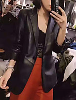 Women's Casual/Daily Street chic Fall Leather Jacket,Solid Shawl Lapel Long Sleeve Regular Lambskin