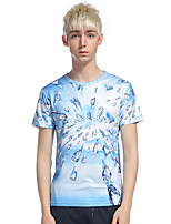 Men's Going out Casual/Daily Beach Simple T-shirt,Print Round Neck Short Sleeve Cotton