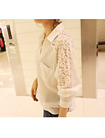 Spring Korean Women yards lace stitching chiffon blouse students loaded long-sleeved shirt large spot