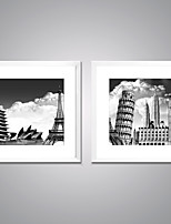 Framed Canvas Prints the Eiffel Tower  and the  Leaning Tower of Pisa Picture Print on Canvas  Famous Buildings Picture for Wall Decoration