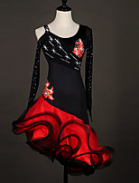 Latin Dance Dresses Women's Performance Spandex Organza Crystals/Rhinestones Flower(s) Ruffles Splicing Color Block 1 Piece Long Sleeve
