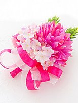 Bouquets de Noiva Forma-Livre Peônias Alfinetes de Lapela Casamento Festa / noite Cetim